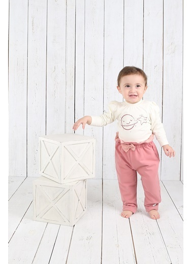 Nila Kids Ekru Rengi Karpuz Kol Detaylı Organik Kız Bebek Body NK01012E (3 AY- 1 YAş) Ekru